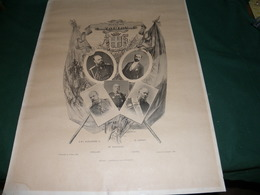 """1893 SOUVENIR DE TOULON : """" AMITIE FRANCO - RUSSE : LE TSAR ALEXANDRE III , M. CARNOT .... - Affiches"""