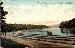 Pennsylvania Beaver Falls Wickham's Curve On Beaver River 1911 Curteich - United States