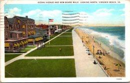 Virginia Virginia Beach Ocean Avenue And New Board Walk 1939 Curteich - Virginia Beach