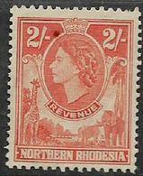 Northern Rhodesia  EIIR, 1953, 2/=, Orange, Revenue Stamp, MNH ** - Northern Rhodesia (...-1963)