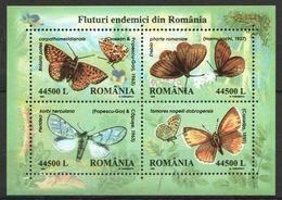 RM103 2002 ROMANIA FAUNA INSECTS & BUTTERFLIES MICHEL 16 EURO BL322 MNH - Schmetterlinge