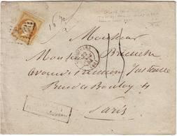 N° 21 Obl Lettre De PARIS POUR PARIS De 16,5 Grammes Et TAXEE 15 Cts , RARE 1864 - 1849-1876: Période Classique