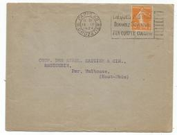 SEMEUSE 5C JAUNE ROULETTE SEUL LETTRE PARIS 15.III.1924 - 1906-38 Sower - Cameo