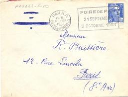 PAU R.P. BASSES-PYRENEES OMec FLIER 6.VIII 1951 FOIRE DE PAU / 21 SEPTEMBRE / 3 OCTOBRE 1951 - Marcophilie (Lettres)