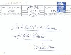 LYON-GARE RHONE OMec RBV 20-9-1954 NUITS DE L'ARMEE / LYON / 18-26 SEPTEMBRE 1954 - Postmark Collection (Covers)