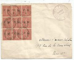 FM SEMEUSE 10C LIGNEE BLOC DE 6 LETTRE VERSAILLES 1907 LETTRE 11E REGIMENT D'ARTILLERIE TARIF ?? - Franchigia Militare (francobolli)