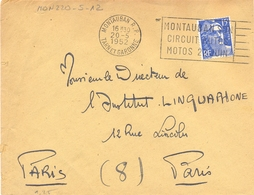 MONTAUBAN R.P. TARN ET GARONNE OMec SECAP 20-5-1952 MONTAUBAN SON / CIRCUIT AUTOS / MOTOS 22 JUIN - Marcophilie (Lettres)