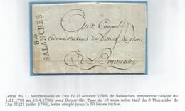 MARQUE MONT BLANC 84 SALLANCHES AN IV LETTRE LE GARDE MAGASIN DES FOURRAGES - 1792-1815: Dipartimenti Conquistati