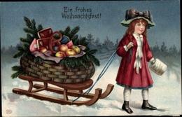 Gaufré Lithographie Glückwunsch Weihnachten, Mädchen Mit Schlitten, Äpfel, Lebkuchen, Brezel - Weihnachten