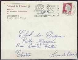RAOUL Et OSCAR J.   Enveloppe Avec Entete Pub  Postée  à 06 JUAN LES PINS En 1961 Pour Le CLUB Du DISQUE Pathé Marconi - Advertising