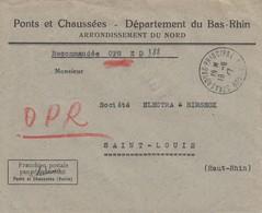 Env Reco Franchise Postale / Par Abonnement / Ponts Et Chaussées (Voirie) Obl STRASBOURG PRINCIPAL Du 18.6.47 - Postmark Collection (Covers)