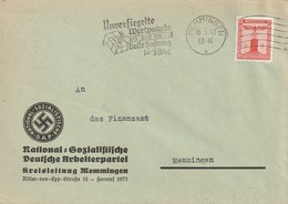 Deutsches Reich / 1938 / Dienstmarke Mi. 149 EF Auf Brief, Masch.-Stempel Memmingen, Abs. NSDAP-Kreisleitung (5448) - Officials
