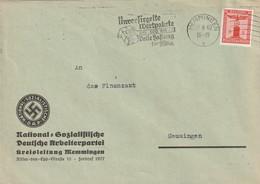 Deutsches Reich / 1938 / Dienstmarke Mi. 149 EF Auf Brief, Masch.-Stempel Memmingen, Abs. NSDAP-Kreisleitung (5449) - Officials