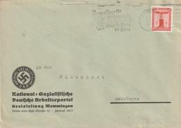 Deutsches Reich / 1938 / Dienstmarke Mi. 149 EF Auf Brief, Masch.-Stempel Memmingen, Abs. NSDAP-Kreisleitung (5453) - Officials