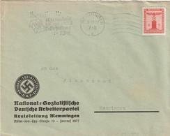 Deutsches Reich / 1938 / Dienstmarke Mi. 149 EF Auf Brief, Masch.-Stempel Memmingen, Abs. NSDAP-Kreisleitung (5454) - Officials