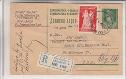 Yougoslavie - Carte Postale Recom De 1946 - Entier Postal - Oblit Sarajevo - Exp Vers Prague - Brieven En Documenten