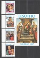 A734 1987 LESOTHO ART CHRISTMAS 1987 #671-74 BL+SET MNH - Madonna