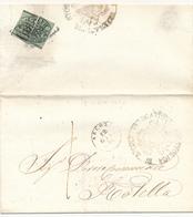 1856 PONTIFICIO DA ASCOLI A ROTELLA CON 2 META' DI 1 BAJ - Stato Pontificio
