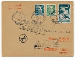FRANCE - Enveloppe Affr 40F Poste Aérienne + Gandon 2F Et 5F - Festival Du Film CANNES 1946 - Rebuts Buenos Aires - Commemorative Postmarks