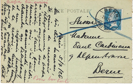 1926- C P A De Paris Affr. 1 F Pasteur SEUL Oblit. Cad De BERN En Suisse - Postmark Collection (Covers)