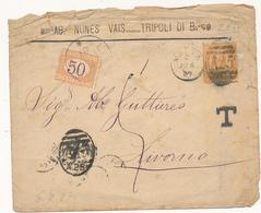 1887 DA TRIPOLI DI BARBERIA CON 0,20 ESTERO ANNULLO IN TRANSITO MALTA A25 TASSATA IN ARRIVO 0,50 CENT - Marcophilia