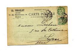 Carte Cachet Paris Sur Blanc Entete Orfevre - Matasellos Manuales