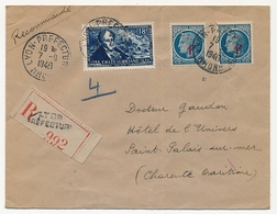 FRANCE - Enveloppe Affr 18F Chateaubriand + 1F Cérès X2 - Recommandé Lyon-Préfecture 1948 - France