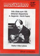Revue De Musique -  Musikblatt N° 4 - 1987 Heitor Villa-lobos - Musique