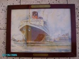 """LITHO RARE  AFFICHE ANCIENNE  Signée * SéBILLE Albert ** French Line """"ile De France"""" * New York Harbour -juin 1927 - Lithografieën"""
