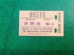 Slelaff-Waage Vertreter Baden Wurtenberg 1935 Schmid Durlach Adolf Hitlerstr - Titres De Transport