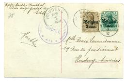 Belgique - Occupation 1914-18  OC11 EtOC12 Sur Carte De Vœux De Ath Vers Houdeng-Aimeries 1917 - [OC1/25] Gouv. Gén.