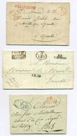 Italie Lot De 3 Précurseurs Avec Marque 9.A.E.D En Bleu, Noir Et Rouge. Deux Sont Adressés Au Maire De Grenoble. - 1. ...-1850 Vorphilatelie
