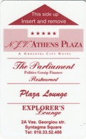 GREECE Hotel Keycard - ATHENS PLAZA / KESSARIS Advertisement On The Back ,used - Hotelsleutels (kaarten)