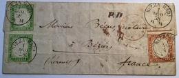 NIZZA MARa 1858 Lettera Sa.13A+16A COMTÉ DE NICE(France Alpes Maritimes Italia Sardegna Lettre Sardaigne Cover Sardinia - Sardaigne
