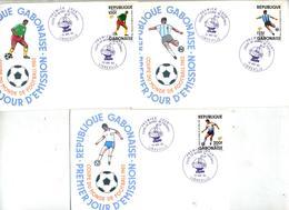 3 Lettre Fdc  1982 Champion Monde Football 1982 - Gabon (1960-...)
