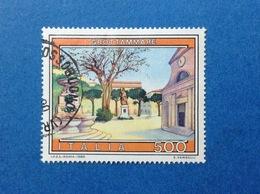 1989 ITALIA TURISTICA GROTTAMMARE 500 LIRE FRANCOBOLLO USATO ITALY STAMP USED - 6. 1946-.. Repubblica