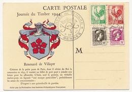 FRANCE => Carte Fédérale Journée Du Timbre 1944 Affr. Coq Et Marianne D'Alger - RENNES - 1944 Coq Et Marianne D'Alger