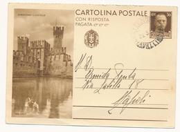 OPERE DEL REGIME SIRMIONE IL CASTELLO CON RISPOSTA PAGATA - 1900-44 Vittorio Emanuele III