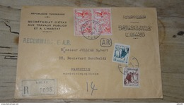 TUNISIE : Enveloppe RECOMMANDEE  Avec AR 1957 Pour Marseille - Tunesië (1956-...)