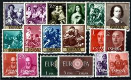 España Nº 1270/9-1290/7 Cat.10,75€ - 1951-60 Nuevos & Fijasellos