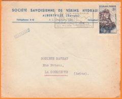 Sté  SAVOISIENNE De VERINS HYDRAULIQUES   Sur Enveloppe  à Entete Pub De 73 ALBERTVILLE  Savoie  Postée En 1958 - Advertising