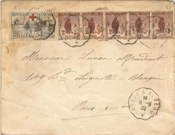 L Avec Orphelin N° 156 Et N° 148 X 5 Obl Par CàD Ambulant De DREUX à AUNEAU. 8/9/1920 - Storia Postale