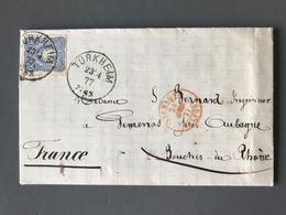 Allemagne, Lettre De Turkheim 1877 - Cachet D'entrée ALLEMAGNE BELFORT - (B1956) - Allemagne