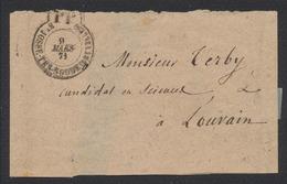 """Belgique - Bandelette Pour Journaux Cachet PP """"St-Josse-Ten-Noode (Bruxelles)"""" (1871) Vers Louvain / Imprimé - Zeitungsmarken"""
