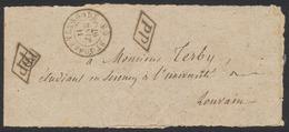 Belgique - Bandelette Pour Journaux Cachet PP Et PD + DC St-Josse-Ten-Noode (1867) Vers Louvain / Imprimé - Zeitungsmarken