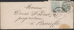 """Petit Lion Dentelé - N°23 X2 Sur Bande Pour Journaux (double Port) Obl Double Cercle """"Namur"""" (1868) Vers Boneffe - 1866-1867 Petit Lion (Kleiner Löwe)"""