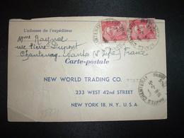 CP Pour USA TP M. DE GANDON 3F Paire OBL. HOROPLAN 7-5 46 NANTES CHANTENAY (44) - 1945-54 Marianne De Gandon