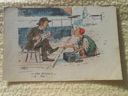 Cpa Humour Cireur Algerie  Illustrateur Signé 1919 - Illustrateurs & Photographes