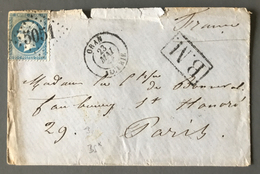 France N°22 Sur Lettre GC 5051 (Oran) + Cachet BM (Boite Mobile) - (B1979) - 1849-1876: Période Classique