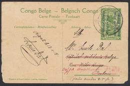 """EP Au Type 5ctm Vert """"Palmier"""" + Surcharge Est Africain Allemand Obl B.P.C.V.P.K Vers Hopital Militaire Belge à Calais - Entiers Postaux"""